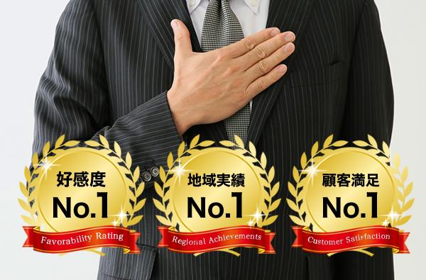 好感度No.1 地域実績No.1 顧客満足No.1